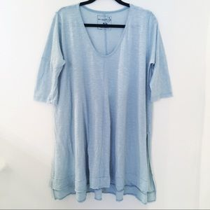 Free People Gray Blue Oversize Linen Tunic M